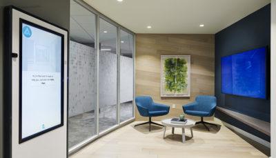 Lobby meet Pam tech office wood wall